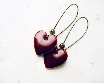 Red Heart Earrings. Dark Cherry Red Dangle Earrings. Simple Geometric Earrings. Rustic Boho Chic Cranberry Enamel Everyday Earrings.