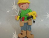 Construction Worker Carpenter Christmas Ornament Hammer Screwdrirver Wrench Electric Drill Polymer Clay Cake Topper Boots Hard Hat Tool Belt