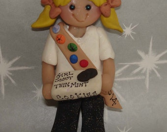 Brownie Scout Christmas Ornament Patches Sash Cookies Handcrafted Polymer Clay Milestone Cake Topper Thin Mint Box Cookies Troop Leader