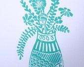 Original Art Print. Linocut. Vase with Flowers, blue. 8x10.