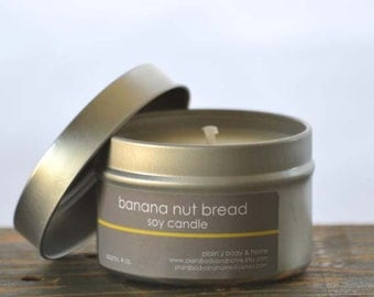 Banana Nut Bread Soy Candle Tin 4 oz. - banana candle - bakery candle - food candle - banana bread candle - fall candle