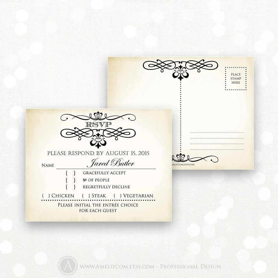 Bright image in printable rsvp card