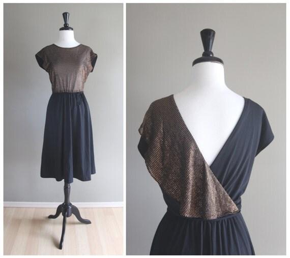 Glamorous Metallic Copper & Black Open Back Evening Dress / Vintage 1970s Fredrick's of Hollywood