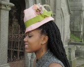 Ladies' Pink Straw Hat Fedora Hipster-Small Brim, Parasisal Straw,Vintage Ribbon and Velvet leaf/pod,vintage berries, coque feather Trim