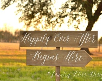 Happily Ever After Wedding Sign,  Rustic Wedding Signs, Wood Wedding Signs, Custom Wedding Signs, Reception signs, Vintage Wedding Signs