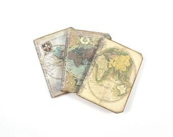 Set of 3 Travel Notebooks, Passport Size Travel Journal Refills, Altered Map Journals, Notebook Refills, Assorted Antique Map Jotters