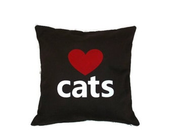 "16""x16"" Dark Brown 'Love Cats'  Pillow COVER"
