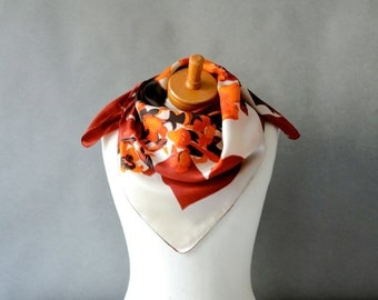 Vintage large silk scarf carré summer fall women's XXL geometric floral red brown orange square