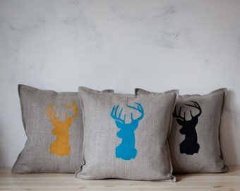Holiday pillows - Reindeer pillows set of 3 -cushion covers hand painted - linen cushion cases with deer heads   0116