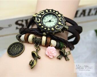 Cinderella charm bracelet watch cute high heel princess fairy tale vintage bronze clock retro jewellery accessory