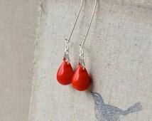 Bright Red Earrings, Red Dangle Earrings, Long Red Earrings, Red Teardrop Earrings, Red Glass Earrings, Tear Drop Earrings UK Jewellery