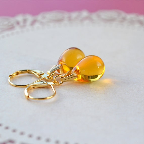 Yellow Earrings, Tear Drop Earrings, Bead Dangle Earrings, Yellow Glass Earrings, Gold Leverback Earrings, Yellow Teardrop Earrings, Etsy UK