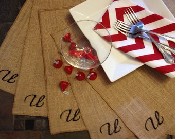 Burlap Personalized Embroidered Placemats - Thanksgiving - Wedding - set of 4