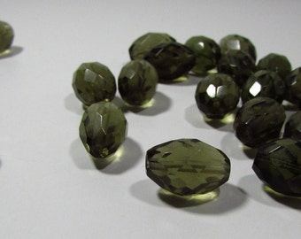 Smokey Green Quartz Faceted Barrel Tube Beads 14mm