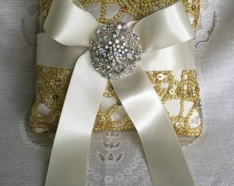 custom silver ring bearer ring pillow with bow and brooch