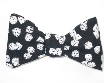 Mens Freestyle Bow Tie Roll The Dice Gambling Craps Lucky Self Tie Your Own BowTie