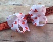 Red heart headband - Valentines Day headband, baby headband