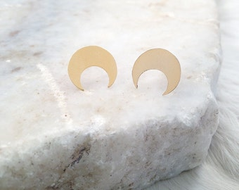 Luna --- Small Crescent Stud Earrings in Gold