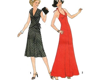 "1977 Empire Waist Halter Dress, Flared Skirt, Maxi or Knee Length, Wrap Top, Braid Trim Ties, Simplicity 7973, Sz 12, Bust 34"", Uncut"
