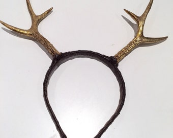 Gold Antlers -Antler Headband- Deer Headpiece- Gold Antlers- Reindeer antlers- Boho -Burning Man- Antlers- Horn Headpiece