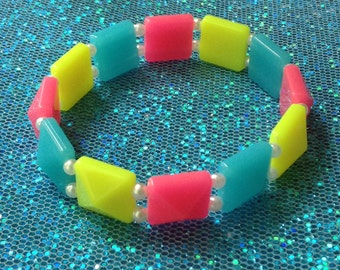 Neon Pyramid Stud Stretch Bracelet with Tiny Faux Pearls