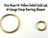 Yellow OR Rose Gold 14k Solid, not plated or filled Hoop Earring Cartilage Tragus Helix Nose Small Tiny Catchless Seamless Little Sleeper