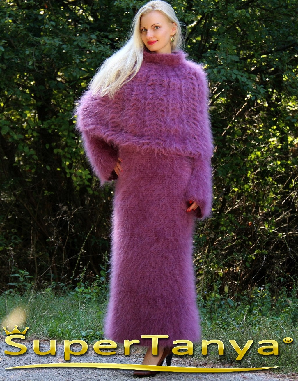 Made to order hand knitted long mohair dress with poncho in