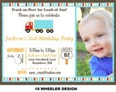 Truck Birthday Invitation - 18 Wheeler Birthday Invitation - Semi-Truck Invitation - Big Rig Invite Truck Stop Printable Party Photo Option