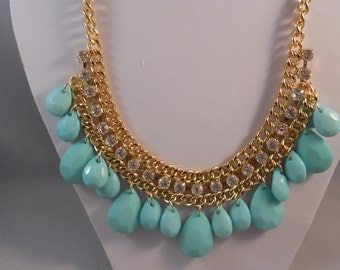 Gold Tone Chain Bib Necklace with Clear Rhinestones and Turquoise Teardrop Pendants