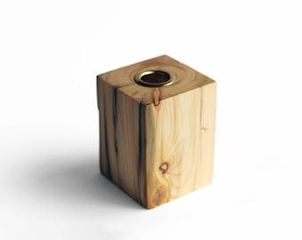 Modern driftwood candle holder. Wood candle holder. With metal sleeve. Taper candle holder. Scandinavian design.