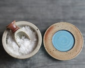 Salt cellar ceramic jar with lid container with lid stoneware pottery cellar for salt pepper herbs spices turquoise color MADE TO ORDER