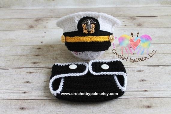 Original Design Crochet US Navy Hat Navy Officer Hat