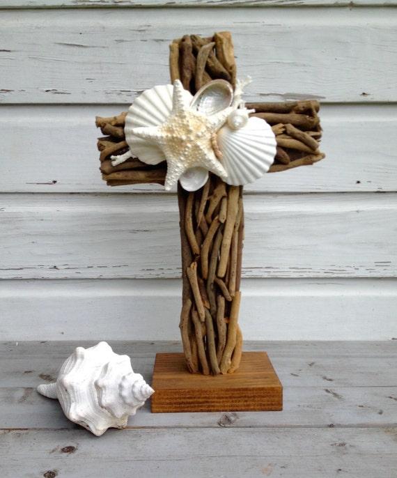 Wedding Altar Beach: Driftwood Altar Cross/Beach Wedding Seashell By MyHoneypickles