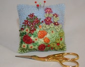 Cottage Garden - Embroidered and Felted Pincushion