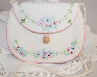 White Embroidered Bag from recycled vintage linens entirely hand stitched by Lynwoodcrafts