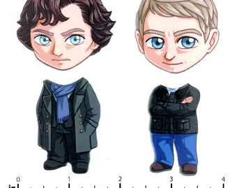 Mix and Match Magnets: Sherlock Holmes and John Watson (Sherlock Set)