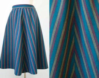 Vintage A-Line Skirt - Chevron Stripe Skirt - Wool Vintage Skirt - 70s 80s - Midi Skirt - XS