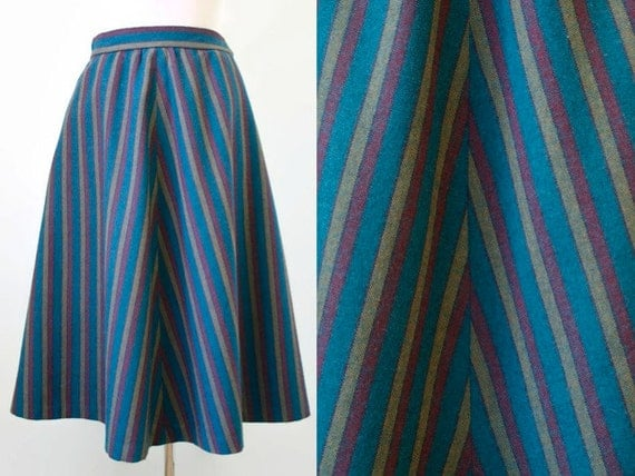 vintage a line skirt chevron stripe skirt wool by hurdyburdy