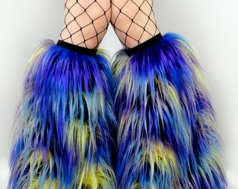 MADE TO ORDER you choose your color tie dye fur boots furry bootcovers fuzzy boots gogo rave trippy neon rave fluffies furry leg warmers