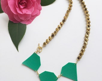 Emerald City Necklace / vintage vinyl / gold metallic beads / upcycled jewelry