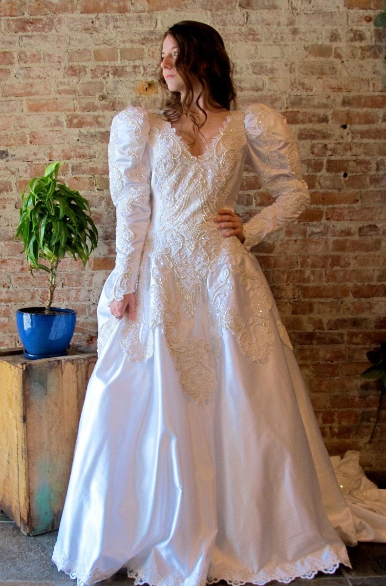 Vintage fairy tale wedding dress puff sleeve satin for Puff sleeve wedding dress