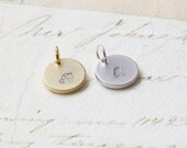 Add A Initial Charm Disc Gold or Rhodium plated Personalized Initial Charm