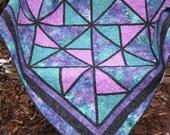 Lap Quilt, Sofa Quilt, Quilted Throw - Stained Glass Batik Lap Quilt