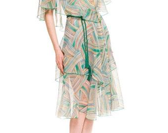 1970s Vintage Boho Chiffon Dress with Capelet  Size: S/M