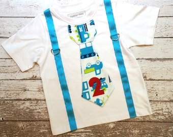 Boys Truck Birthday Shirt, Tie Shirt with Suspenders, Blue, Green, Red, Birthday Clothing for Boys, Toddler Birthday Outfit, Photo Prop