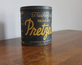 Freihofer's Pretzel Tin, Freihofer Baking Company, Philadelphia, Pennsylvania, Farmhouse Kitchen Storage, Industrial
