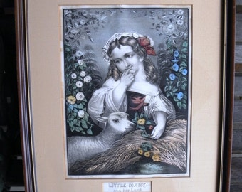 Antique Original Currier & Ives Little Mary and Her Lamb - circa 1873 - from DustyMillerAntiques
