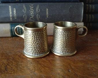 Vintage Arts & Crafts Tankard Style Hammered Brass Shot Glasses ~ Set of 2