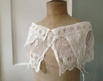 Antique French Lace Bolero Shrug, Shawl, Scarf, Collar, Handmade