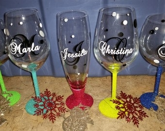 Personalised Name And Initial Vinyl For Wine And Champagne Glasses - Wine glass custom vinyl stickers